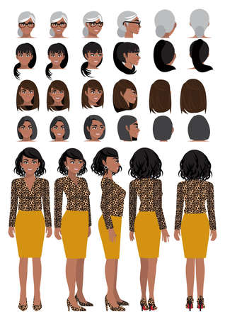 African American business woman cartoon character in leopard print shirt and different hairstyle for animation design vector collection