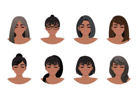 African American women hair styles collection. Black Women avatars vector illustration Ilustração