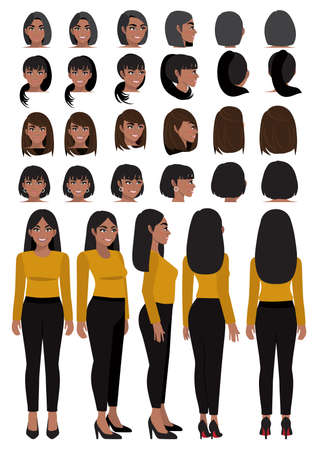 African American business woman cartoon character in casual wear and different hairstyle for animation design vector collection Ilustração