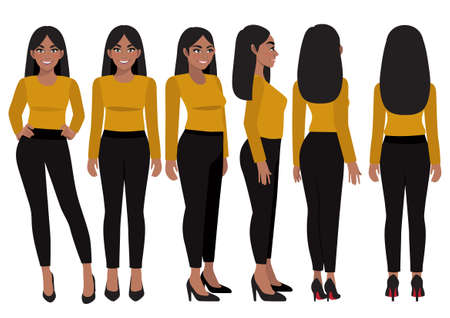 Cartoon character with African American business woman in casual wear for animation. Front, side, back, 3-4 view character. Flat vector illustration