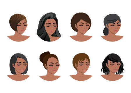 African American women hair styles collection. Black Women 3/4 view avatars vector illustration