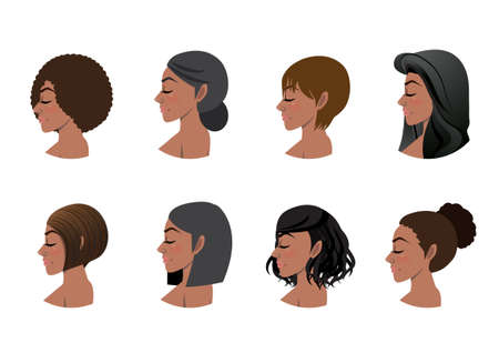 African American women hair styles collection. Black Women side view avatars vector illustration