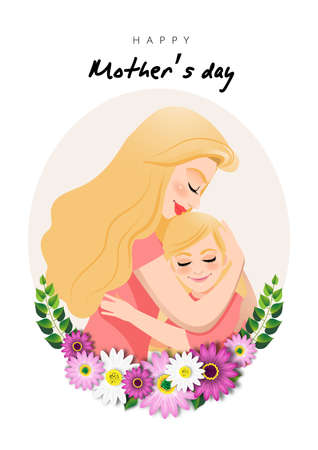 Cartoon character with Mom and daughter embrace in flower wreath. Mother s day background. Isolated design on white background. Vector illusrtation