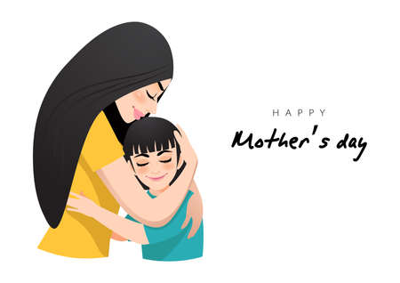 Cartoon character with mom and daughter embrace. Mother s day background. Isolated design on white background. Vector illusrtation
