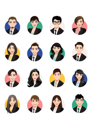Big bundle of business people avatars. Set of male and female portraits. Men and women avatar characters. User pic, face icons for representing person in a video game, Internet forum, account. Vector