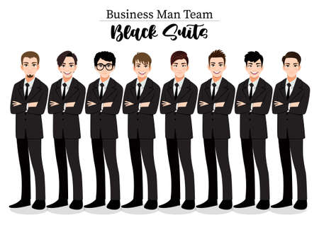 Businessman or Male character crossed arms pose in black suit vector illustration.