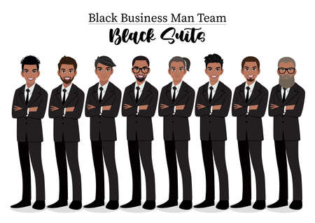Black businessman or American African male character crossed arms pose in black suit vector illustration.