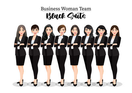 Businesswoman or Female character crossed arms pose in black suit vector illustration.