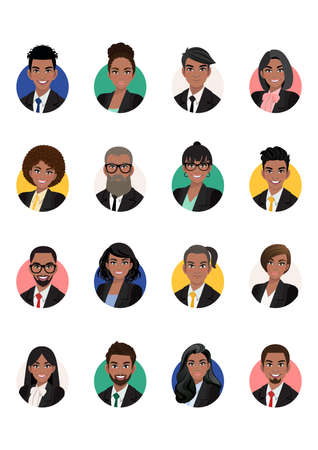 Big bundle of black business people avatars. Set of male and female portraits. Men and women avatar characters. Face icons for representing person in a video game, Internet forum, account. Vector