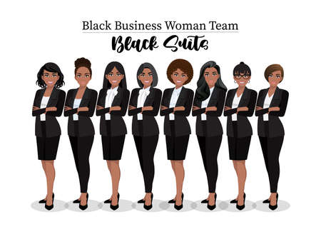 Black businesswoman or American African female character crossed arms pose in black suit vector illustration.