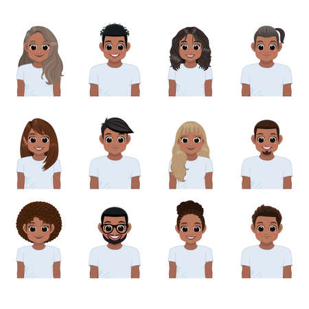 Set of young black people in white t-shirts isolated. Collection of African American girl and boy, Vector illustration in a flat style.