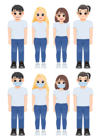 Cartoon character girl and boy in white shirt and blue jeans smiling. Young people wearing medical mask standing together, After Corona virus outbreak lifestyle vector illustration