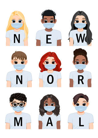 New normal lettering on white shirt background and Diverse girl and boy wearing medical mask, After Corona virus outbreak lifestyle vector illustration Illustration