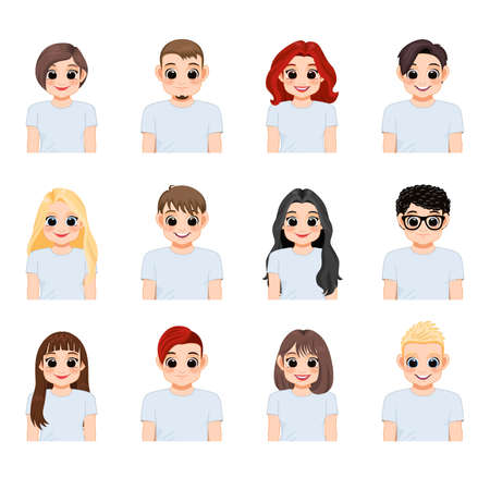 Set of young people in white t-shirts isolated. Collection of diverse girl and boy, Vector illustration in a flat style.