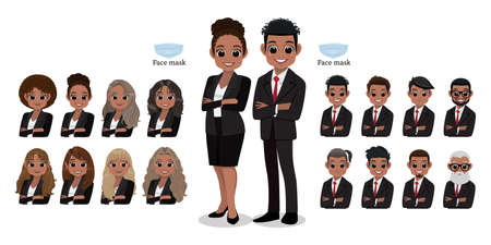 American African cartoon character female and male business people smiling. Hairstyle Collection, vector illustration
