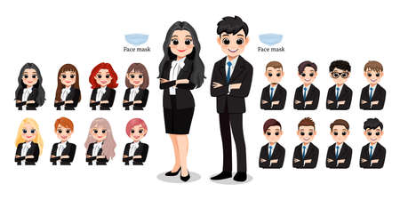 Cartoon character female and male business people smiling. Hairstyle Collection, vector illustration Illustration