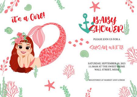 Cute mermaid and sea life cartoon for Baby shower invitation card template vector Illustration
