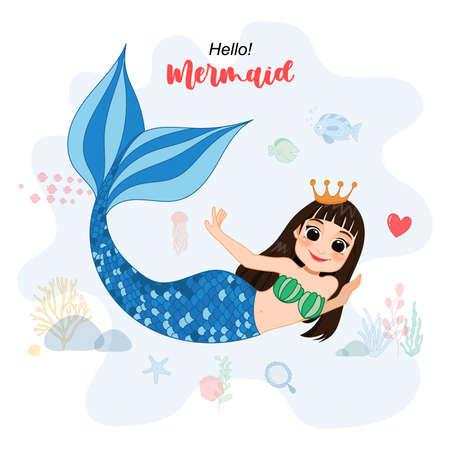 Cartoon Character with cute mermaid and sea life vector Illustration