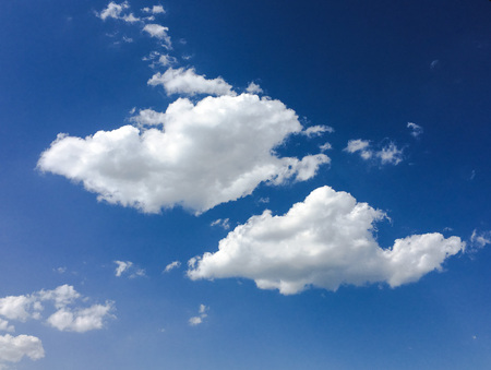 Isolated white cloud on blue sky. Beautiful blue sky with clouds background. Sky with clouds weather nature cloud blue. Blue sky with cloud and sun. Stock Photo