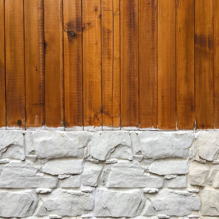 Wood wall with stone wall background. Mixed species wood and stone wall pattern for background texture or interior design element Stock fotó