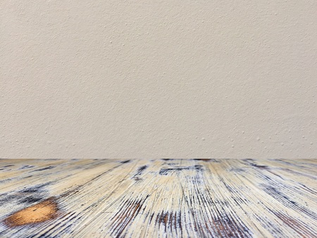 washed wood table with concrete texture background