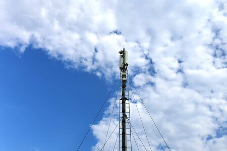 telecommunication tower. Digital wireless communication system. Basic station mobile phone. 5G of the smart antenna of a basic radiotelephone