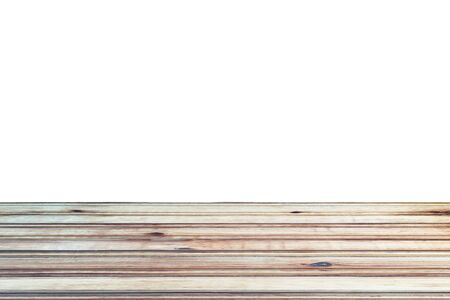 light brown wooden planks as a wood table or parquet floor in perspective, isolated on white Reklamní fotografie