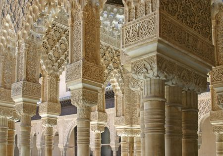 Details of the palace of the Alhambra from Granada, Spain Editorial