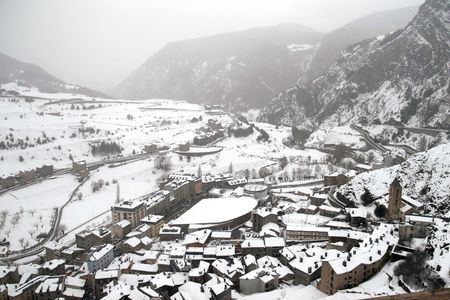 Landscapes and people skiing in the snow in Andorra