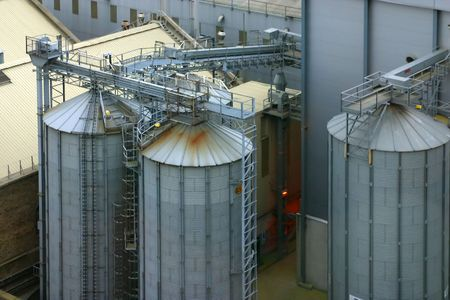 cement chimney: Aerial view of the industrial zone of Dublin, Ireland  Stock Photo