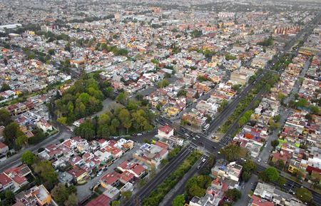 architecture bungalow: Aerial view from helicopter in Mexico DF Stock Photo