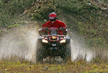 Quadss race at the mountain, Galicia, Spain Stock Photo
