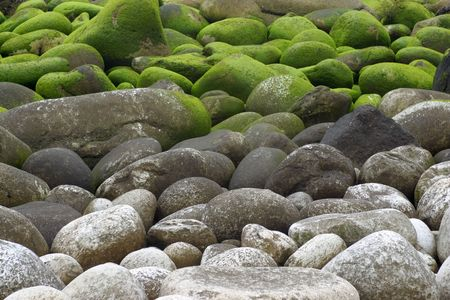 Granit-Steine mit Moos an der Küste des Atlantiks in Galicien, Spanien Standard-Bild - 1797531