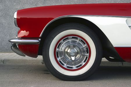 Classical   Corvette red and white r Stock Photo