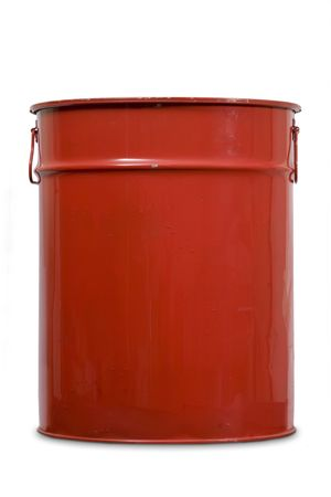 residue: Red large can of metal for garbage Stock Photo