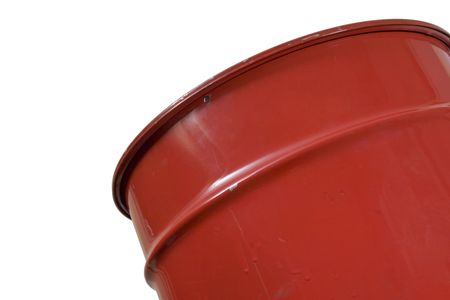 Red large can of metal for garbage Stock Photo
