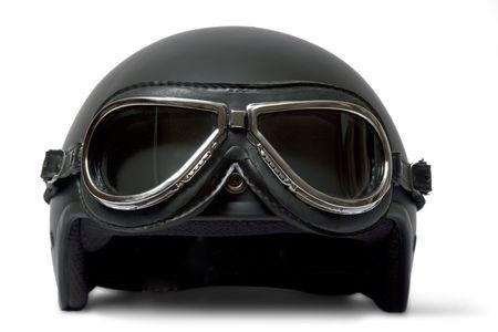 casco de moto: Retro casco y gafas de motorista  Foto de archivo