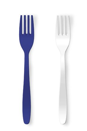 Blue and white plastic fork photo