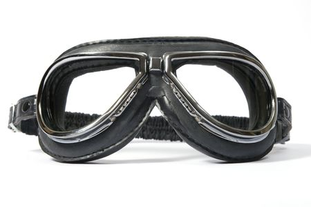 biplane: Black retro leathern goggles for motorcyclist
