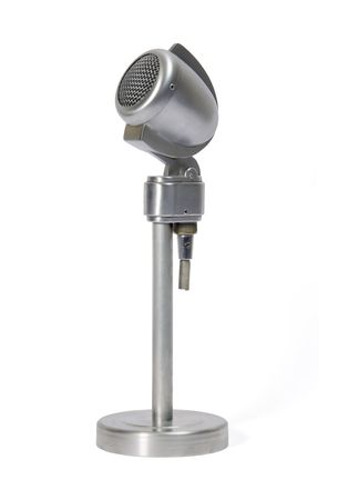 Classical metal microphone with base Stock Photo - 1807821