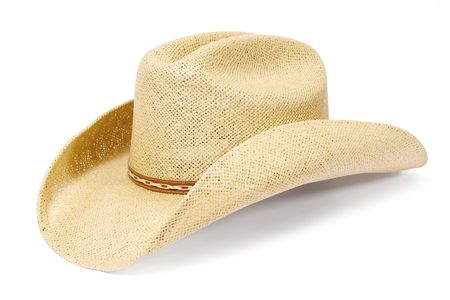 Traditional American straw hat of cowboy Stock Photo