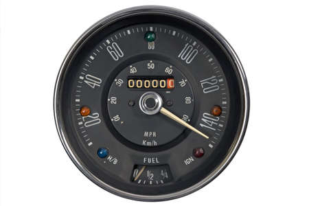 mph: Speedometer in mph and kmh of classical vehicle Stock Photo
