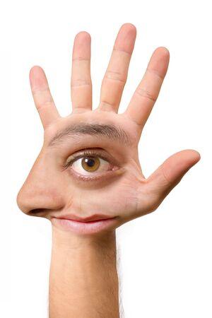 Sehr hässlich Gesicht und komischen erstellen mit der Hand mit ein Auge, Ohr, Nase, Mund und einen Fuß Standard-Bild - 1868748