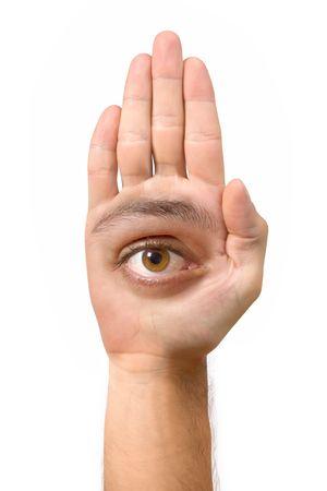 Sehr hässliche Gesicht und komisch schaffen mit der Hand mit einem Auge, ein Ohr, Nase, Mund und einen Fuß  Standard-Bild - 1868720