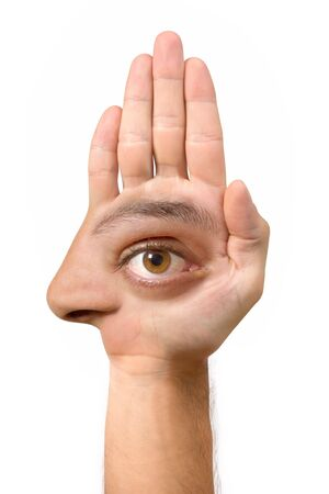 Very ugly face and comical create with the hand with an eye, an ear, the nose, the mouth and a foot Stock Photo - 1868726