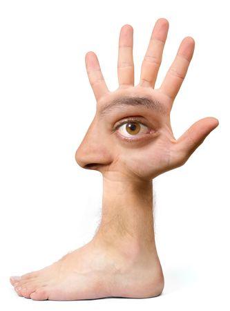 Sehr hässliche Gesicht und komisch erstellen mit der Hand mit einem Auge, Ohr, Nase, Mund und einen Fuß Standard-Bild - 1933384