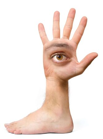 unbeautiful: Very ugly face and comical create with the hand with an eye, an ear, the nose, the mouth and a foot Stock Photo
