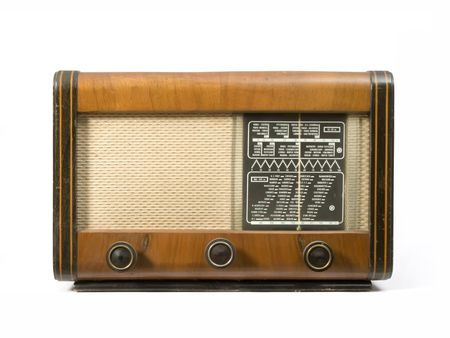 Old wooden radio that runs on lamps photo