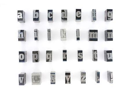 Drucker-Blöcke mit englische Alphabet. Kleinbuchstaben.  Standard-Bild - 2397754
