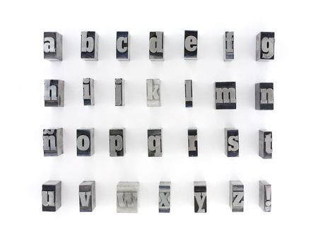 Printers blocks with spanish alphabet. Lower case letters.
